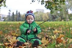 Autumn baby portrait stock photography