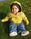 Autumn baby sitting. Cute baby sitting on grass and looking into camera, autumn background Royalty Free Stock Photos