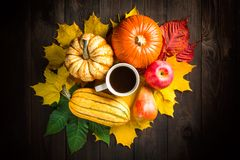 Autumn backdrop decoration with pumpkins, marrow, apple, pear, cup of coffee and colorful leaves on dark wooden background. Top vi royalty free stock photos