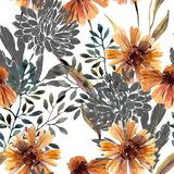 Autumn background. Abstract floral seamless pattern stock illustration