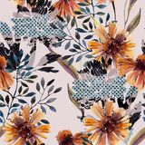 Autumn background. Abstract floral seamless pattern vector illustration