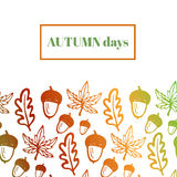 Autumn background with acorns, maple and oak Royalty Free Stock Photo