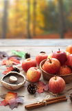 Autumn background apples and leaves Royalty Free Stock Image