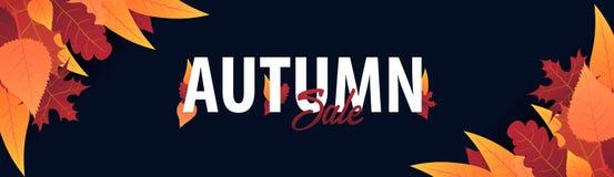 Autumn Background avec des feuilles bannière pour l'affiche de achat de vente ou de promo et de cadre tract ou Web Calibre d'illu Images stock