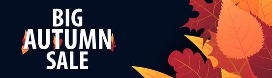 Autumn Background avec des feuilles bannière pour l'affiche de achat de vente ou de promo et de cadre tract ou Web Calibre d'illu Images libres de droits