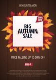 Autumn Background avec des feuilles bannière pour l'affiche de achat de vente ou de promo et de cadre tract ou Web Calibre d'illu Photo stock