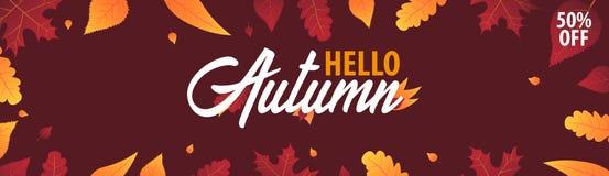 Autumn Background avec des feuilles bannière pour l'affiche de achat de vente ou de promo et de cadre tract ou Web Calibre d'illu Photographie stock