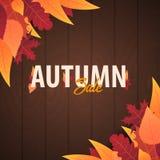 Autumn Background avec des feuilles bannière pour l'affiche de achat de vente ou de promo et de cadre tract ou Web Calibre d'illu Image stock