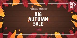 Autumn Background avec des feuilles bannière pour l'affiche de achat de vente ou de promo et de cadre tract ou Web Calibre d'illu Photo libre de droits