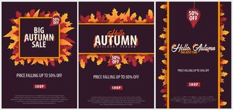 Autumn Background avec des feuilles bannière pour l'affiche de achat de vente ou de promo et de cadre tract ou Web Calibre d'illu Photos stock