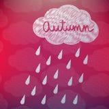 Autumn Background avec un nuage et une pluie Image libre de droits