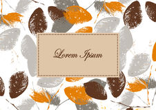 Autumn background. Banner, label with grunge leaves. Silhouettes of leaves Royalty Free Stock Images