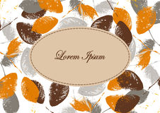 Autumn background. Banner, label with grunge leaves. Silhouettes of leaves Stock Photo
