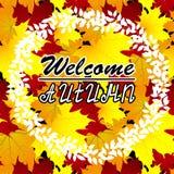 Autumn Background benvenuto Autumn Leaves Potete disporre il vostro testo nel centro Fotografie Stock
