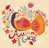 Autumn background with bird Royalty Free Stock Image