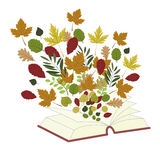 Autumn background with a book and leaves stock illustration