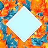 Autumn Background Border Abstrakt konstnärlig nedgångram med ett ställe för text Arkivfoto