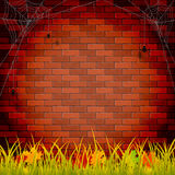 Autumn background with brick wall vector illustration