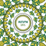 Autumn background. Brush with acorns and oak leaves. Brushes included. Hand drawn vector for decoration. Stock Image