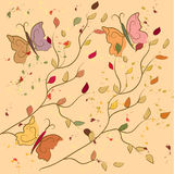 Autumn background with butterflies Stock Photography