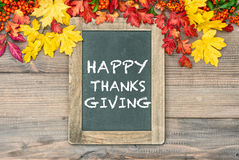 Autumn Background with cblackboard Happy Thanksgiving Stock Image