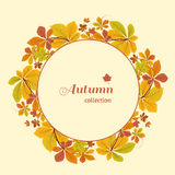 Autumn background, circle frame with yellow leaves. Abstract autumn background, circle frame with colorful chestnut leaves, yellow autumn leaves, seasonal Royalty Free Illustration