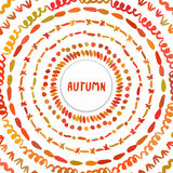 Autumn background. Circle hand drawn frame. Colorful banner shaped with autumn colors vector design. Royalty Free Stock Images