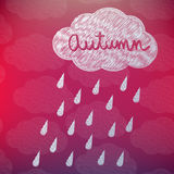 Autumn Background with a Cloud and Rain Royalty Free Stock Image