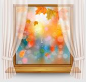 Autumn background with colordul leaves and water droplets. On the transparent window. Vector Stock Illustration