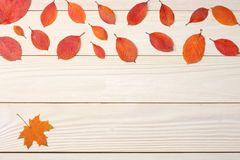autumn background with colored leaves on wooden board. top view with copy space royalty free stock photos