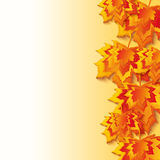 Autumn background with colorful 3d maple leaves Stock Photography