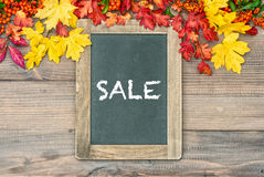 Autumn background with colorful leaves and blackboard. Sale Royalty Free Stock Photography