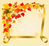 Autumn background with colorful leaves and gold ri Royalty Free Stock Image