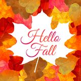 Autumn background with colorful leaves and text. Autumn vector background with colorful leaves and `Hello Fall` quote Stock Illustration