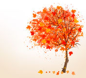 Autumn background with colorful leaves and a tree. Vector illust Stock Photo