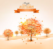 Autumn background with colorful leaves and trees.Vector illustra Royalty Free Stock Photography