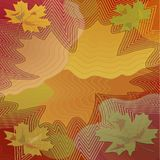 Autumn background with colorful maple leaf within vibrant curves Royalty Free Stock Images
