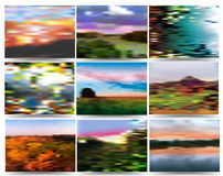 Autumn background composed of landscapes. Nine blurred landscapes in autumn colours Stock Photos