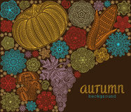 Autumn background with creative vegetables and flowers, decorative floral background Royalty Free Stock Photos