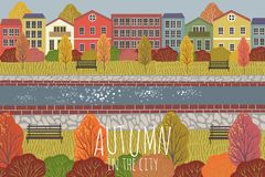 Autumn background. Cute flat vector illustration of city landscape with houses , river, benches and trees. Freehand