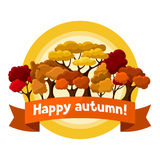 Autumn background design with abstract stylized Stock Image