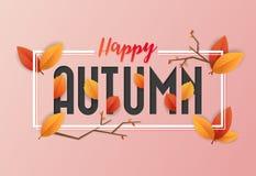Autumn Background Design heureux Feuilles et lettres de chevauchement Images libres de droits