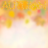 Autumn background for design V. Autumn background with bright leaves for design, school season; selective focus Royalty Free Stock Photo
