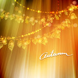 Autumn background with different leaves. Autumn background with different gold leaves and bokeh lights, fall vector illustration Royalty Free Stock Images