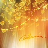 Autumn background with different leaves. Autumn background with different gold leaves and bokeh lights, fall vector illustration Royalty Free Stock Photo