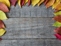 Autumn background with dry leaves, nuts, acorns cinnamon spices on wooden table. Copy space Royalty Free Stock Images