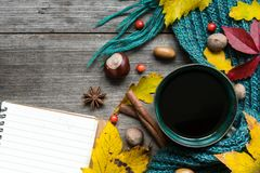 Autumn background with dry leaves, scarf, cup of coffee with spices and blank notebook Royalty Free Stock Photo