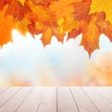 Autumn Background with Empty Wooden Table and Fall Leaves stock photos