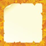 Autumn Background with Fall Leaves and Paper Sign Stock Photo