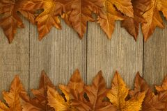 Autumn background with fall leaves on weathered wood Stock Photo
